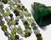 Moonstone Mala Necklace with Green Garnet, Onyx, Prehnite, Smoky Quartz, Phantom Quartz, and Tourmalinated Quartz | Japa | Prayer Beads