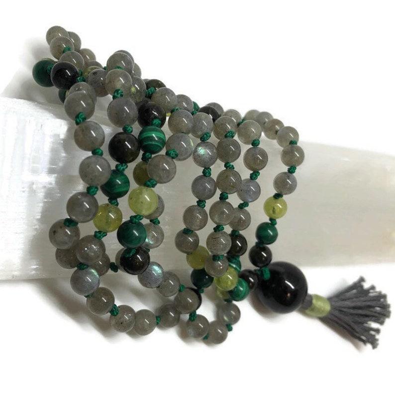 Labradorite Mala Beads Green Tourmaline Green Garnet image 0