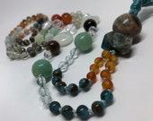 Mixed Gemstone Mala Necklace, Orange Mala, Blue Mala, Gemstone Prayer Beads, Boho Necklace, Yoga and Meditation