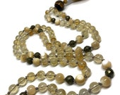 Citrine and Pyrite Mala Bead Necklace for Solar Plexus Chakra, Mother of Pearl Mala, Tiger Eye Mala, Yellow Mala, Yoga Necklace, Yoga Mala