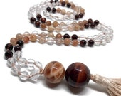108 Beads Moonstone Mala Necklace with Rutilated Quartz, Garnet, Red Tiger Eye, Sunstone, Necklace, Yoga, Meditation, 6mm Japa Mala