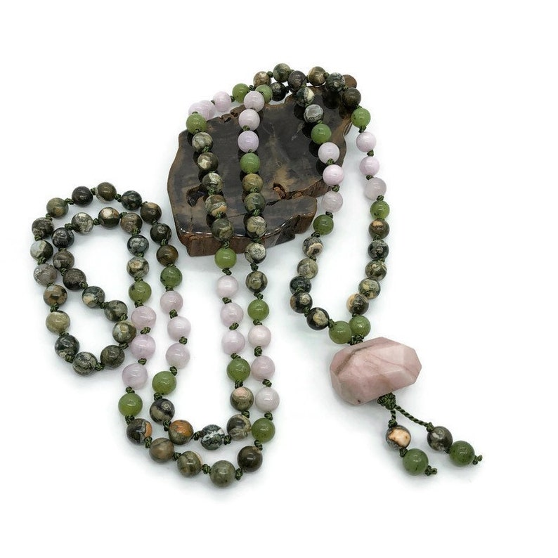 Rhyolite Heart Chakra Yoga Rainforest Jasper Pink Jasper Mala Necklace Jade Mala Necklace Kunzite Mala Beads Necklace Green