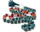 Turquoise Mala Beads Necklace / Quartz / Carnelian Mala / Prayer Beads / Japa / Chakra / Yoga / Meditation / Gift / Kundalini / Sunstone