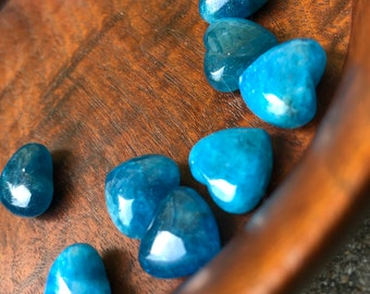 One Mini Blue Apatite Crystal Heart   Miniature Crystal Heart for Love, Truth, Gridding, Reiki, Collectors
