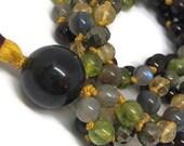 Garnet and Labradorite Mala / Peridot and Citrine  Mala / Prosperity Mala / Pyrite Mala / Red / Gold / Green / Rainbow / Yoga Necklace