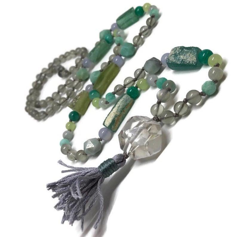 Gray Moonstone Mala Beads / Yoga Necklace / Japa / Meditation image 0