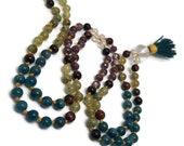Apatite Mala Beads Necklace | Green Garnet | Red Tigers Eye | Quartz Prayer Beads | Japa | Yoga Meditation | Kundalini | Crystal | Gemstone