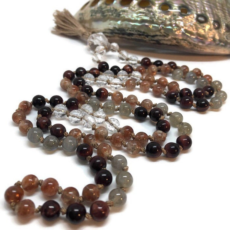 Sunstone Mala Dragon's Eye Labradorite Quartz Yoga image 0