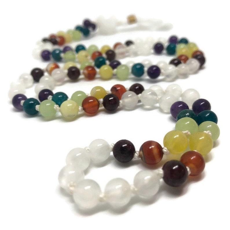 Rainbow Chakra Mala Beads Necklace Selenite Mala Beads image 0