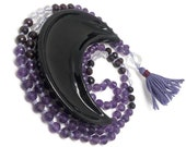108 Amethyst Mala Beads Necklace for Healing Addiction Recovery Commitment Chakras Self Love Purple Red Mala Yoga Meditation