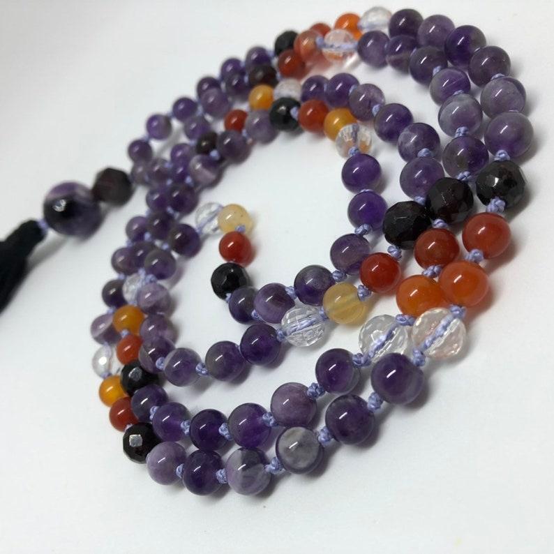 Amethyst Carnelian Garnet Quartz Mala Beads Purple and image 0