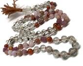 108 Mala Beads with Pink Tourmaline, Phantom Quartz, Carnelian, Sunstone, Rose Quartz, Clear Quartz | 6mm Prayer Beads for Self Confidence