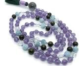 Amethyst and Aquamarine Mala Beads with Green Tourmaline | Yoga Jewelry | Meditation Beads for Japa and Prayer | Gemstone Mala Necklace