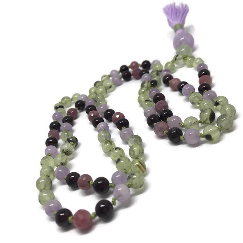 Prehnite Necklace Ruby Necklace Garnet Necklace Amethyst image 0