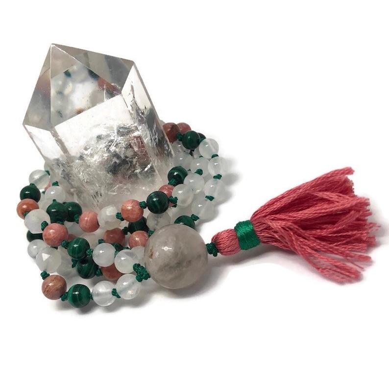 Love Mala Beads for the Heart Chakra Pink Rhodochrosite image 0