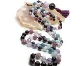 Ruby Mala Mala Beads Necklace for Meditation/ Aquamarine and Garnet Prayer Beads / Yoga Necklace / Yoga and Meditation