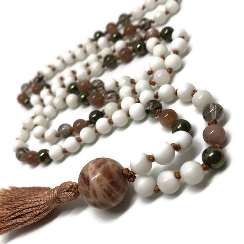 Sunstone Mala Rutilated Quartz Mala Moonstone Mala Pyrite image 0