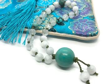 Aquamarine and Turquoise Mini Mala for Pocket and Travel | Travel Mala | Mala for Throat Chakra | Speak Your Truth | 27 Bead Gemstone Mala