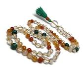 Carnelian Ombré Mala Necklace w/ Turquoise Beads / Chakra / Quartz Mala / Orange Mala / Yoga Necklace / Mala Beads / Japa / Meditation