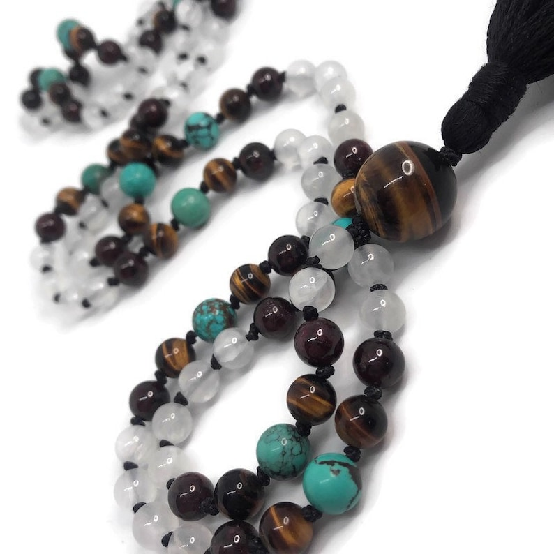 Selenite Mala Beads Necklace  Natural Turquoise Mala Necklace image 0