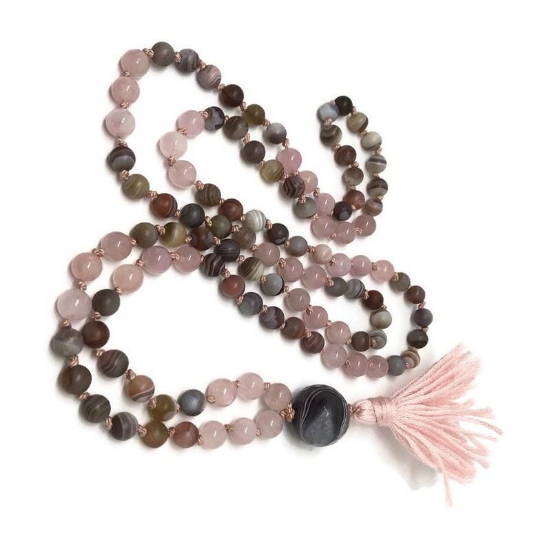 Grief Mala Botswana Agate Rose Quartz Mala Bead Necklace image 0