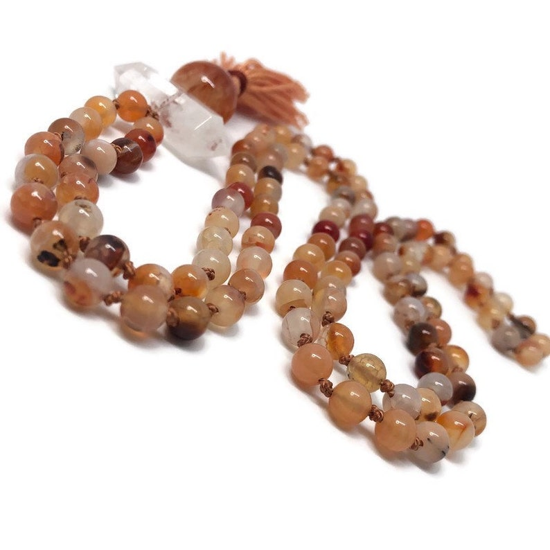 Orange Agate Mala Bead Necklace for Creativity Passion and image 0