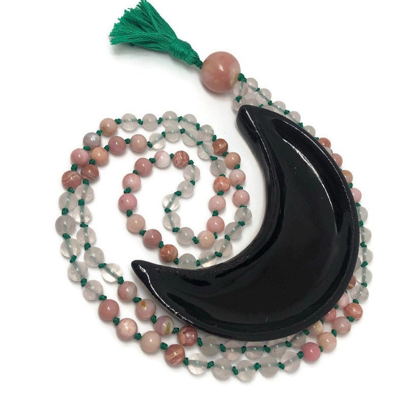 Love Mala  Pink Mala Beads Necklace  Rhodochrosite Mala  image 0