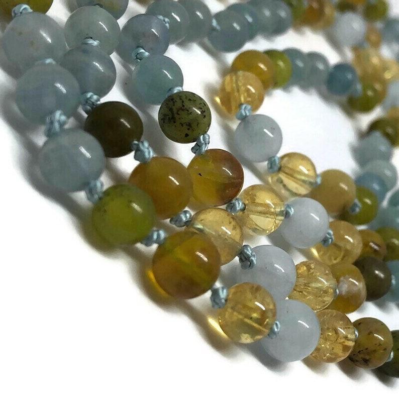 Blue Calcite Mala / Jade Mala / Golden Opal Mala / Citrine image 0