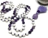 Amethyst Mala, Tridacna Shell Mala, Crown Chakra Mala, Purple Mala, White Mala, Prayer Beads