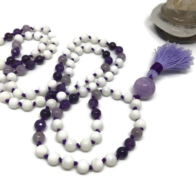 Amethyst Mala Tridacna Shell Mala Crown Chakra Mala Purple image 1
