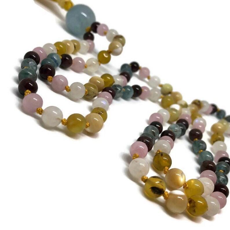 Kyanite Mala, Garnet, Rose Quartz, Rainbow Moonstone, Golden Opal, Mother  of Pearl Prayer Beads, Aquamarine, Yoga Necklace, Meditation Beads