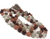 Selenite Mala Beads Necklace, Yoga Jewelry, Meditation, Sunstone Mala Necklace, Hessonite Mala Necklace, Jade Mala Necklace, Smoky Quartz