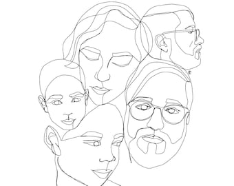 Custom One Line Drawing (5+ people/subjects)
