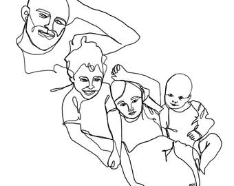 Custom One Line Drawing (4 people/subjects)
