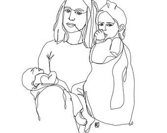 Custom One Line Drawing (3 people/subjects)