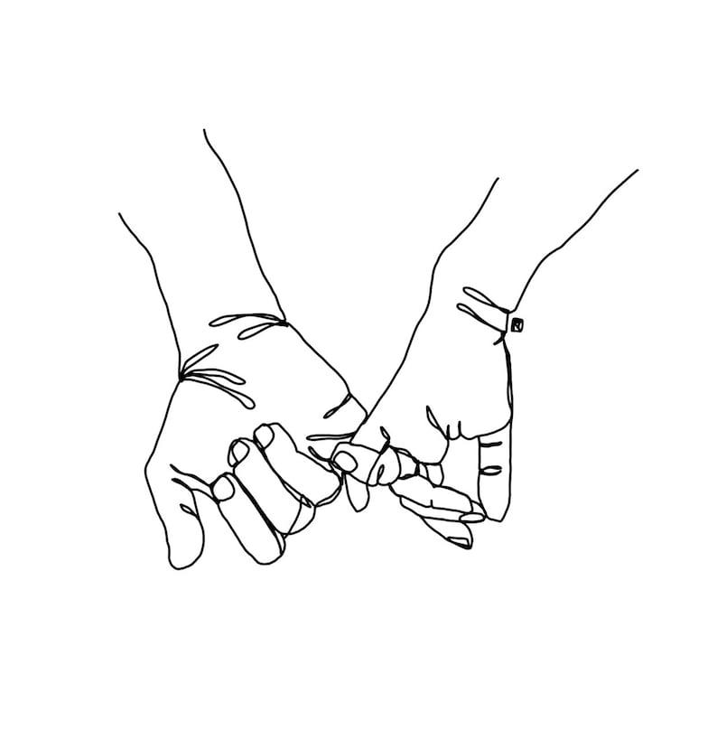 1e2b540b0cbf3 Pinky Swear Hands Single Line Drawing Digital Download | Etsy