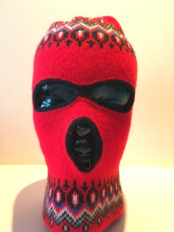 Vintage Wool red Balaclava with winter theme desig