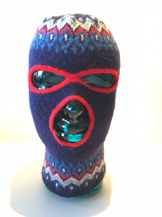 Vintage Wool Balaclava with winter theme design