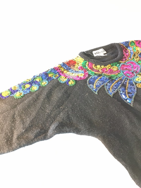 Vintage sequined and beaded black sweater. 80s or… - image 5