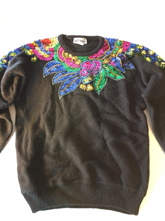 Vintage sequined and beaded black sweater. 80s or… - image 1