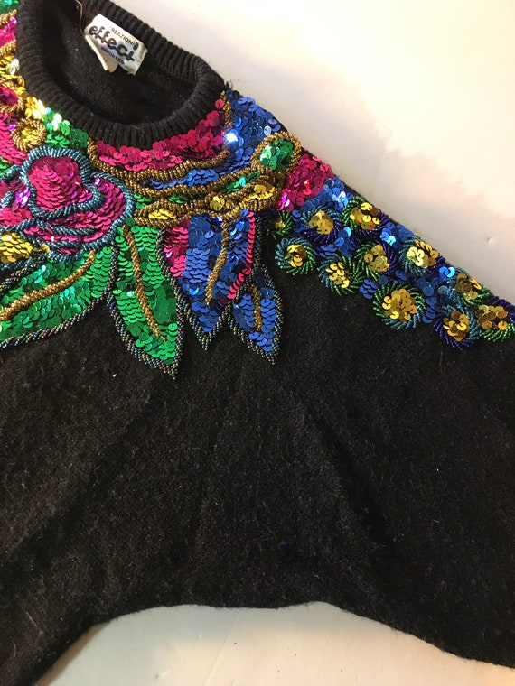Vintage sequined and beaded black sweater. 80s or… - image 6