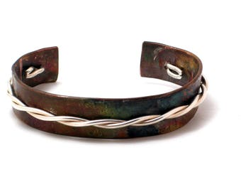 Copper and Twisted Silver Cuff
