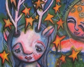 Deer Girl Print- Whimsical Mixed Media Folk Art Pop Surrealism Surrealist Surreal Moon Sun Stars Forest