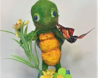 Turtle Darling - an original Needle Felted Art Doll