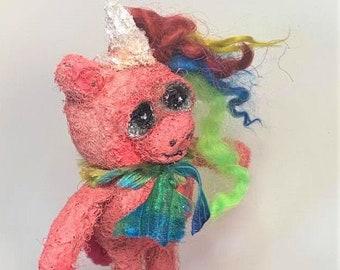 Rainbow Unicorn - an original Needle Felted Art Doll
