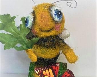 Buzzy Bee - an original Needle Felted Art Doll