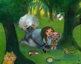 Hermione Granger with Dobby, Buckbeak and Crookshanks Harry Potter inspired fanart - Art Print
