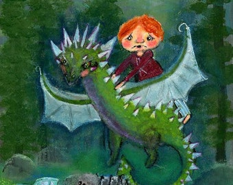 Ronald Weasley on the Hungarian Horntail Dragon Inspired Harry Potter 8x8 Acrylic Painting