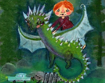 Ronald Weasley riding on Hungarian Horntail Dragon Harry Potter Inspired - Art Print