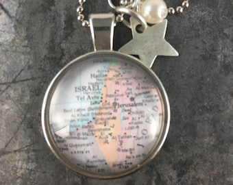 Map Pendant Necklace country of Israel